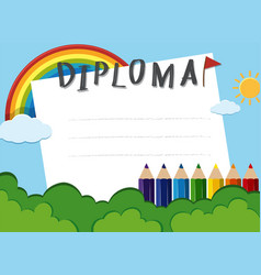 Diploma template with rainbow in the park vector