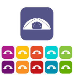 Dome tent for camping icons set flat vector