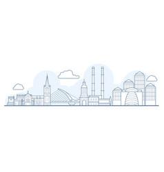 Dublin city skyline - cityscape with landmarks in vector