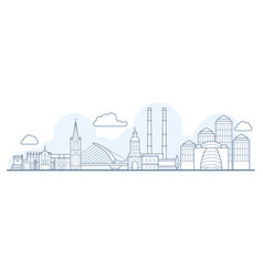 dublin city skyline - cityscape with landmarks in vector image