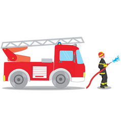 Firefighter and truck vector