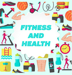 Fitness and health flat poster vector