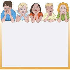 Five young children leaning on they elbows vector
