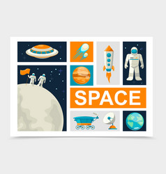 flat space elements set vector image