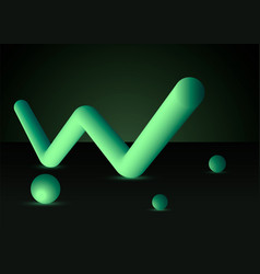 fluid backgroundgreen letter w with spheres vector image