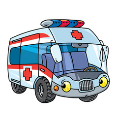 Funny small ambulance car with eyes vector