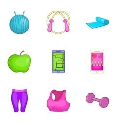 Gym icons set cartoon style vector