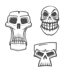 Halloween artistic skull icons set vector image
