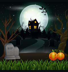 Halloween background with scary house in the full vector