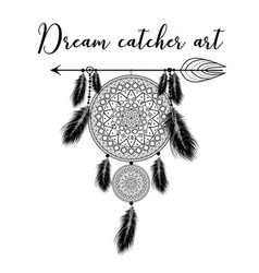 hand drawn indian dreamcatcher with feathers vector image