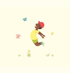 happy african american boy jumped for joy in the vector image
