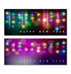 happy new year banner set light bokeh blur holiday vector image