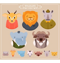 Hipster Animal Icon Set vector image