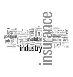 How to find a job in insurance vector