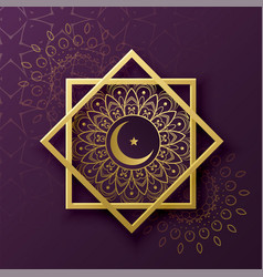 Islamic symbol decoration with crescent moon for vector