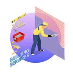 Isometric interior repairs concept builder is vector