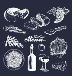 Italian cuisine menusketched traditional southern vector
