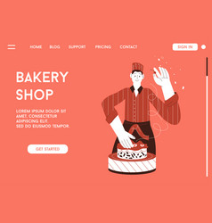 landing page bakery shop concept vector image