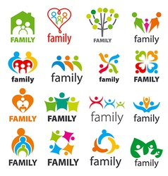 large collection logos family vector image