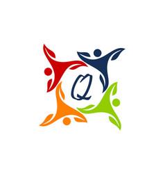 Leaf people health together letter q vector