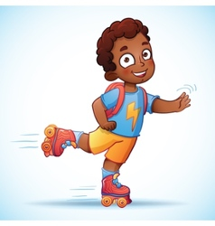 Little african american boy riding on roller vector image