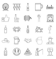 live beer icons set outline style vector image