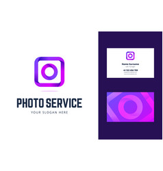 logo and business card template for photo service vector image