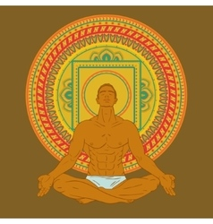 Man sitting in meditation pose on mandala vector image