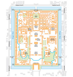 Map of the forbidden city palace complex in vector
