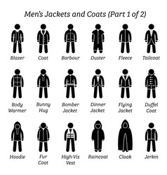 Men jackets and coats stick figures depict a set vector