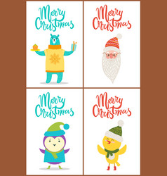 merry christmas collection bear santa bird chicken vector image
