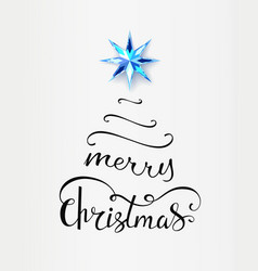 merry christmas inscription in shape of xmas tree vector image