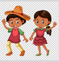 mexican boy and girl in costume vector image