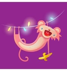 Monkey hanging on garland vector image