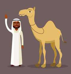 muslim man waving her hand and cartoon camel vector image