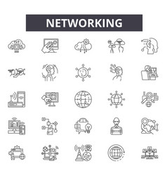 networking line icons signs set linear vector image