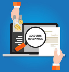 Pay invoice bill holding paper and cash money vector