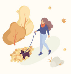 people in the autumn park having fun and walk vector image