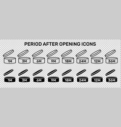 period after open icons set symbols round vector image