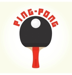 Ping-pong racket and ball isolated vector