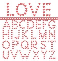 Red hearts alphabet vector