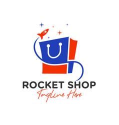 rocket shop bag inspiration logo vector image