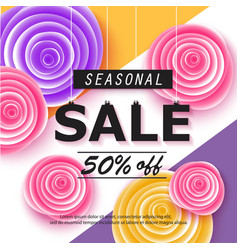 Seasonal sale banner with flowers vector