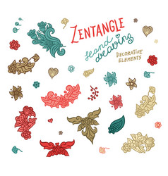 set hand drawing zentangle elements vector image