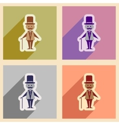 Set of flat web icons with long shadow stylish man vector