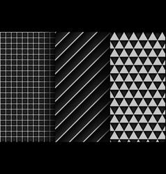 Set of grey abstract geometric seamless background vector