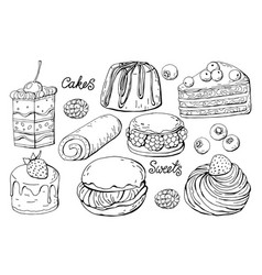 set of isolated sweets and cakes on a white vector image