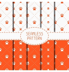 Set of seamless pattern with animal footprints vector image