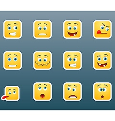 Set of smile emoticon stickers vector image