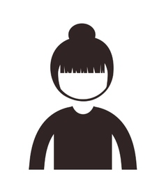 Silhouette half body woman collected hair vector